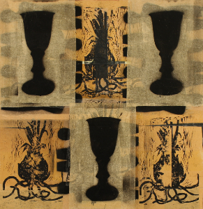 Chalice by Gail Grinnell, Woodblock and Collage