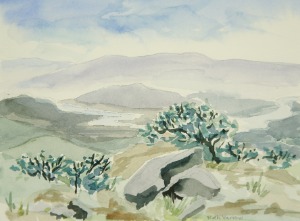 View from Rattlesnake Mountain by Ruth Yarrow, watercolor on paper